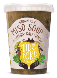 Brown Rice Miso Soup with Mushrooms + Kale + Tamari