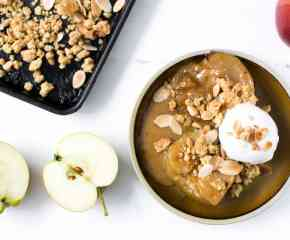 Baked Apples with Miso Butterscotch + Almond Crumble
