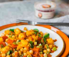 Chickpea + Mango Salad with Smoky Red Pepper + Garlic Pesto Dressing